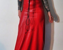 Hell Couture Red Rubber Maxi Dress