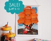 2016 calendar, ON SALE, wall hanging fabric calendar, fairy in autumn