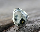 Ocean Jasper Sterling Silver Statement Ring, Boho Jewelry, Bohemian Ring, Natural Gemstone Large Ring, Bohochic Ring, Handmade One of A Kind