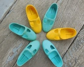 "Vintage Crissy Shoes By Ideal - T-Straps - Teal, Aqua, Yellow - 5199 - Velvet, Mia, Dina, Cricket, Tara - Crissy Family 15"" Dolls - 1960s"