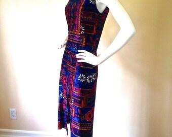Vintage 1960's / 1970's Sleeveless Psychedelic Midi-Dress - Bernard Claverie - Made in France