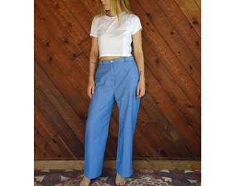 High Waist Chambray Woven Trouser Pants - Vintage 70s - M/L Petite