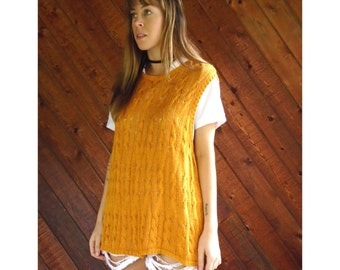 Mustard Yellow Cable Knit Sweater Vest - Vintage 90s - LARGE