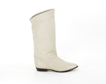 Vintage Ivory Leather Flat Boots Princess Leia Cream MIdi Slouch Boots Size 8