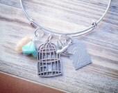 Mama Bird Cage Adjustable Bangle Bracelet (your choice of #)