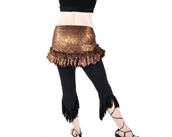 Belly Dance Hip Scarf  Hip Wrap - Embossed Copper - tribal fusion