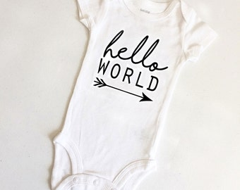 Baby Carter's Bodysuit, Hello World, Gender Neutral Gift