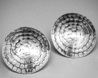 Button Earrings, Sterling Silver Disk Earrings, Silver Disk Earrings, Stering Silver Button Earrings