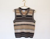 Vintage Devon Brown & Tan Striped Knit Sweater Vest / V-Neck Sleeveless Pullover