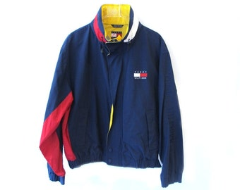90s TOMMY HILFIGER Windbreaker Rain Jacket Coat Colorblock L