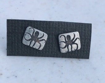 Octopus studs, sterling silver