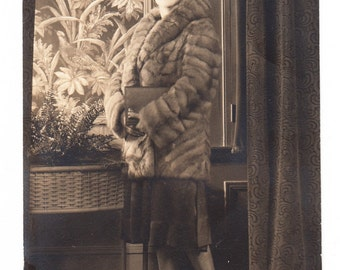 vintage Photo Postcard Pretty Flapper Woman Mink Coat Purse Dress Shoes 1920s RPPC