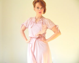 CLEARANCE SPECIAL  70s Disco Pastel Pink Lace Festival Dress