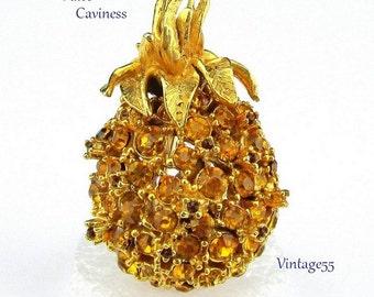 Brooch Rhinestone Pineapple Golden Alice Caviness