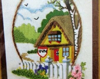 Vintage Crewel Kit, 1970s Needlepoint Kit, Country Inn,  1980s Crafting,  Sunset Designs, Jiffy Stitchery Kit 774, Barbara Jennings Design