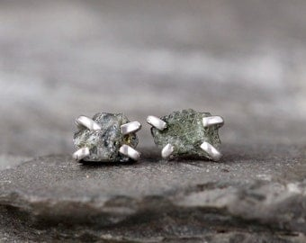 Green Sapphire Earrings - Raw Uncut Rough Sapphire - Sterling Silver Stud Style-Rustic Shape-September Birthstone-Raw Green Gemstone Earring