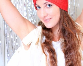 Hair Turban in Red Metallic - Women's Fashion Head Wrap - Sparkly Turbans