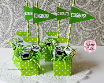 Kit Graduation Party Favor / Personalized Graduation Favor / Hershey Nugget Candy Wraps / Congrats Grad / Straw / Flag/ Congratulations