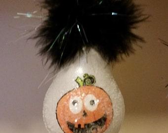 Pumpkin light bulb ornament Halloween
