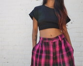 1980s Shorts Pink Black Plaid Baggy Bermudas  28 inch waist