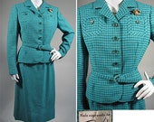 1950s Turquoise and Green Check Wool Suit by Bardley SZ S