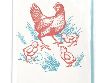Chicken Card, Letterpress Card, Chickens cards, blank greeting cards, mom card, Hen and Chicks Card, bird gift, Chicken lover gift, card