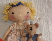 Cinderella inspired Primitive Cloth doll set, Raggedy doll with Mouse and pumpkin, Handmade primitive Rag doll