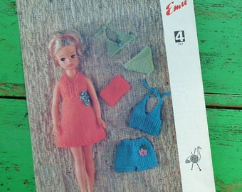 Vintage 60s 70s Knitting Pattern Dolls Clothes Sindy Doll Holiday Outfit Beach Wear Bikini Set 1960s 1970s original pattern Emu No. 6691 UK