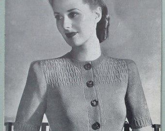 Vintage Knitting Pattern 1940s Women's Cardigan with Smoked Yoke 40s original pattern Weldons Leaflet No. 270 UK