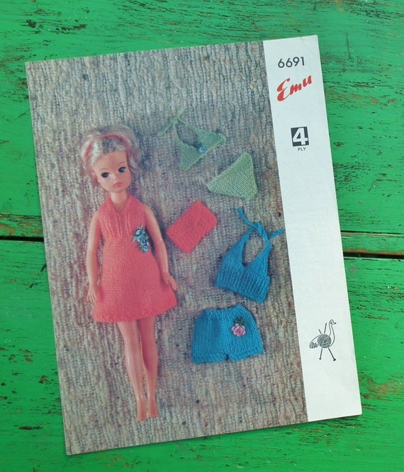 Vintage 60s 70s Knitting Pattern Dolls Clothes Sindy Doll