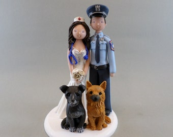 Unique Cake Toppers - Police Officer & Nurse with 2 Dogs Customized Wedding Cake Topper