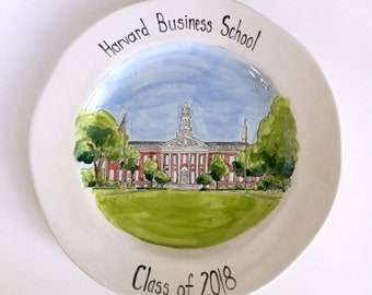 Personalized graduation gift university college portrait painting on ceramic plate by Cathie Carlson