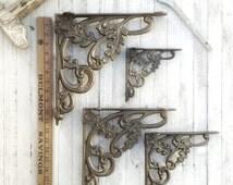 Shelving Brackets, Shelf Decor, Iron Brackets, Shelf Decor, Cast Iron Brackets, Iron Corbels, Set of 2