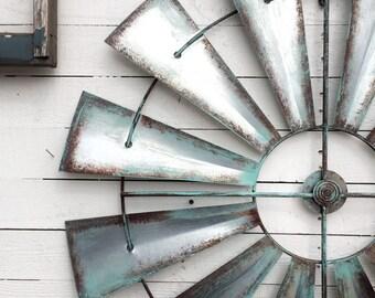 """Full Windmill Head, 35"""" Wall Decor, Rustic Farmhouse, Industrial Steel Windmill, Rusty Home Decor"""