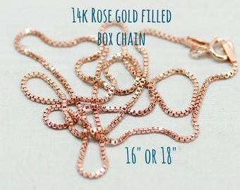 Rose gold necklace chain - 14k rose gold filled box chain 16 or 18 inches - rose gold jewelry - rose gold chain - Sea and Cake jewelry