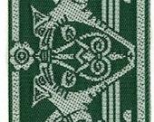 "Dog Jacquard Ribbon Trim Gryphon Gargoyle Trim Renaissance Ribbon Green White 1 3/8"" Wide x 4 Yards"