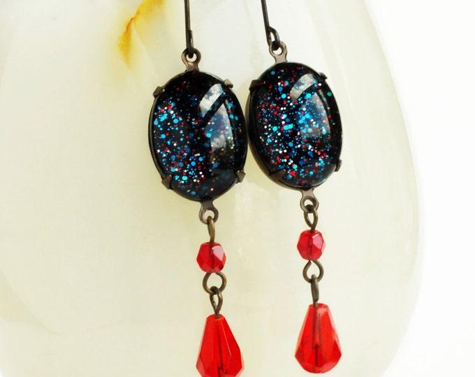 Black Cosmic Glitter Galaxy Earrings Glitter Statement Earrings Cosmic Galaxy Jewelry Nail Polish Dangle Earrings