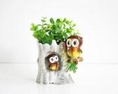 Vintage 1960s Ceramic Owl Planter / Mid Century Norcrest Owl Vase