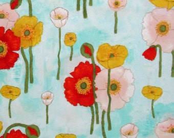 Big Red White Yellow Gold Poppy Poppies Flowers Floral Teal Turquoise Blue Quilter's Weight Cotton Print Fabric - Yardage - By the Yard