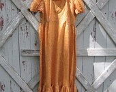 vintage 1970s handmade granny dress  L XL
