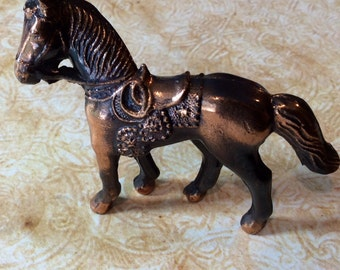 Cast Metal Cowboy Horse Figurine Carnival Toy