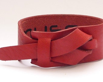 Red Leather Cuff Red by Muse, Free shipping