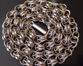 """Vintage Victorian SIlver Cable Reed Locket Watch Chain Ornate alternating Links & Tube Clasp Rare 31 grams Sterling 18"""""""