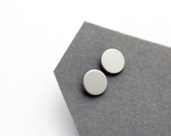 Geomeric silver color stud earrings - minimalist, modern round matt anodized aluminium jewelry