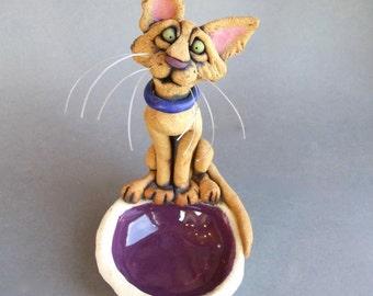 Ceramic Cat Dish Sculpture