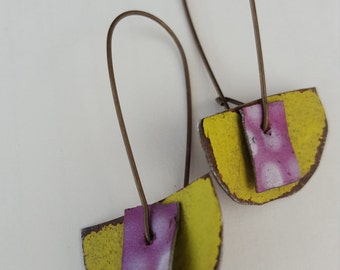 hand painted reclaimed tin earrings in chartreuse with purple and white polka dots