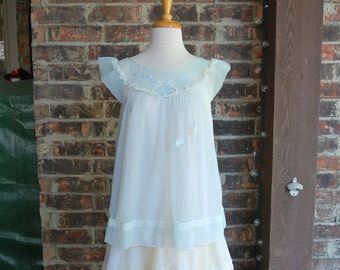 Vintage 60s Babydoll Lingerie Top with Cherubs Cap Sleeves Lace Double Chiffon Swingy Top Flowy