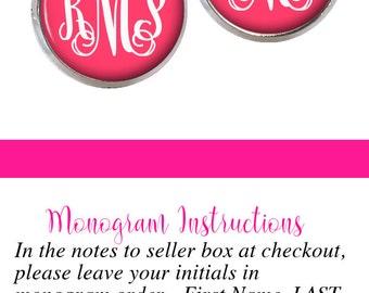 Monogram Earrings - Personalized Earrings - Candy Pink Stud Earrings - Bridesmaid Gift - Style 541