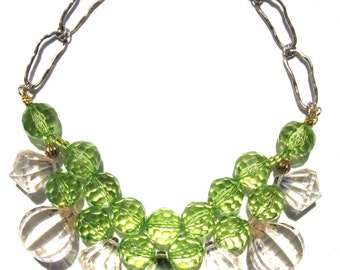 Fun Green clear acrylic handmade statement necklace