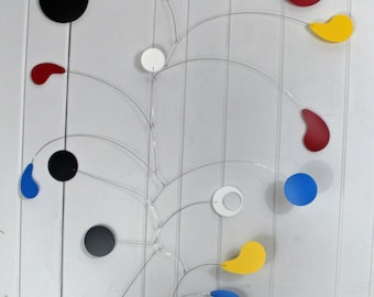 Large Mobile / High Ceiling Mobile / Fun Style for Nursery or Playroom / Knetic Art Mobile Sculpture / Calder Inspired / Skysetter Mobiles